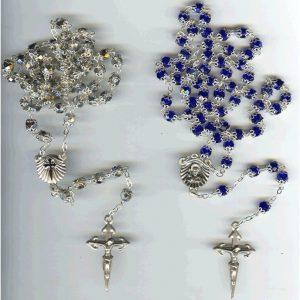 Rosario cristal 2 copas 7mm plata