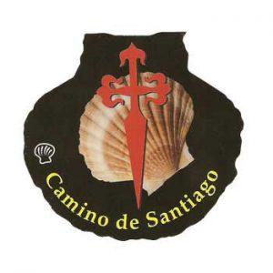 Pegatina Cruz de Santiago con vieira
