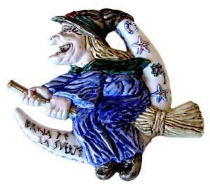 Plafón bruja silueta cerámica
