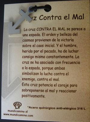 Cruz Contra el Mal en acero inox.