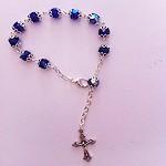 Pulsera Rosario de cristal azul